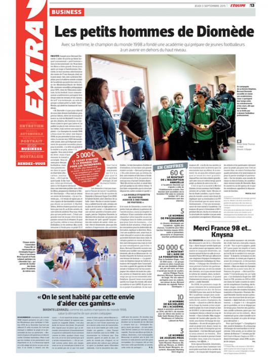 article du journal 'Equipe sur l'Academie Bernard Diomede
